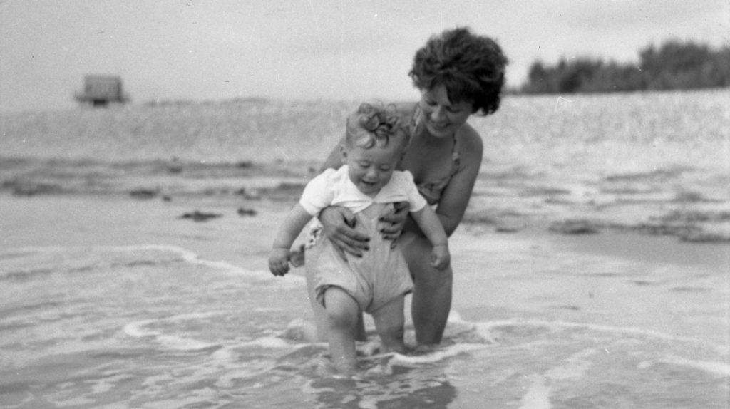 Chris and mum in sea
