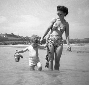 Mum with Richard at Par Sands 1950